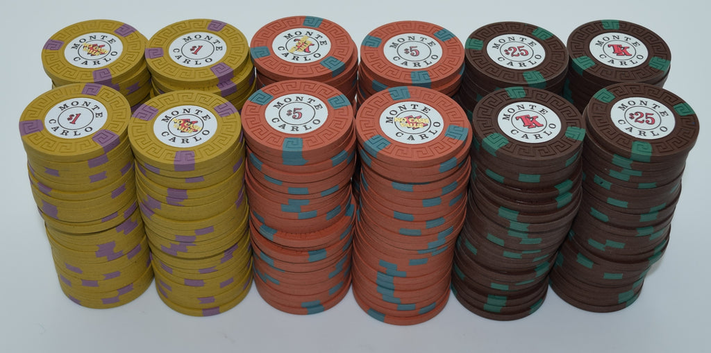 Set of 300 Monte Carlo $1-$5-$25 Casino Chips Reno Nevada 1970s