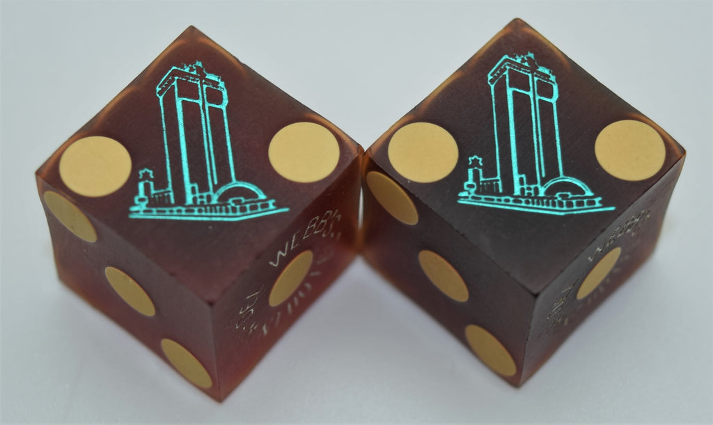 Del Webb's Mint Hotel Las Vegas Used Pair of Dice 1960s