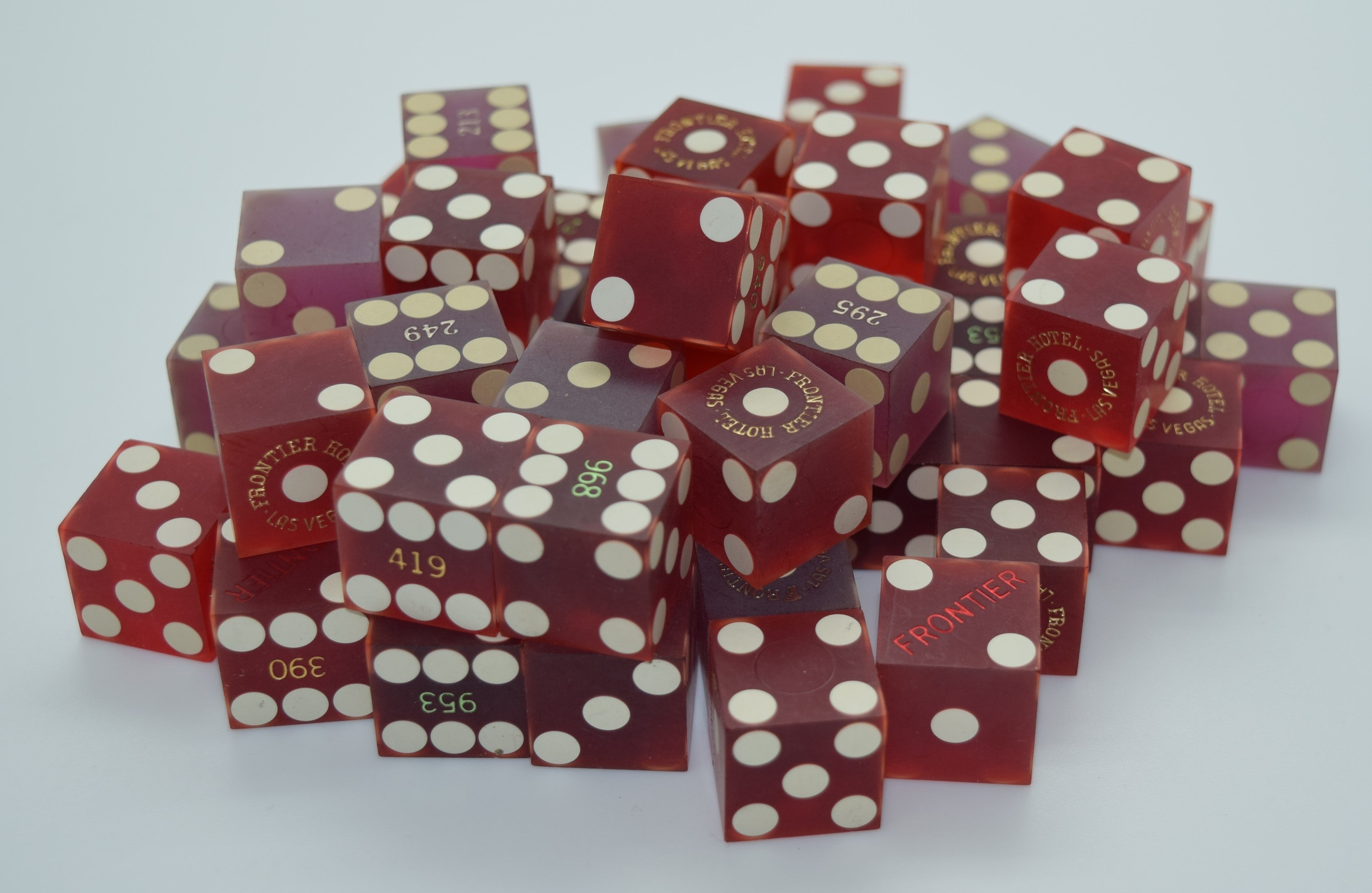 Bulk Dice 50 Used Dice From The Frontier Casino in Las Vegas Nevada