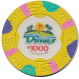 Dunes $1000 (yellow 1989) Casino Chip - Spinettis Gaming - 1