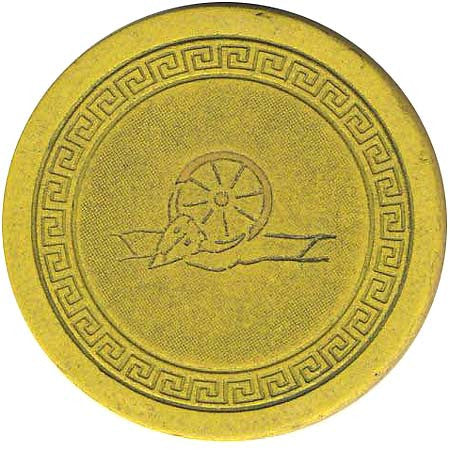 Harvey's Casino Lake Tahoe NV (Wheel & Small Key) Yellow Chip 1940s