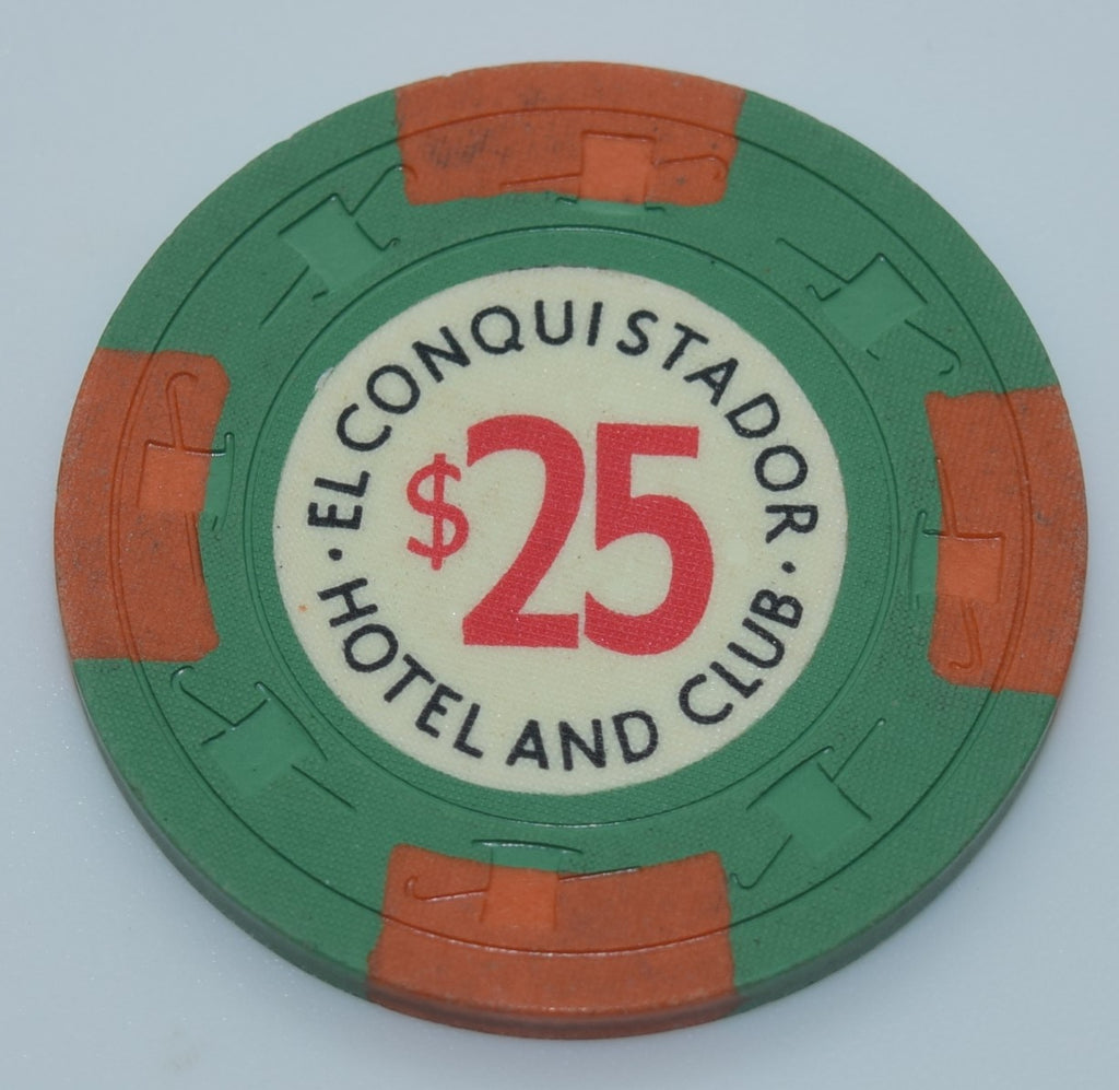 El Conquistador Hotel and Club Puerto Rico $25 Chip With Orange Edge Spots