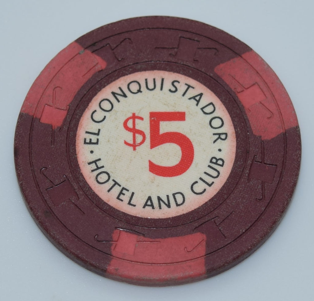 El Conquistador Hotel and Club Puerto Rico $5 Chip Maroon