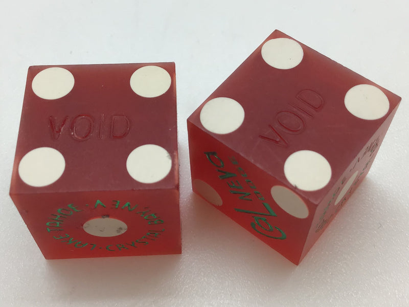 Cal Neva Lodge Lake Tahoe Nevada Red Dice Pair Matching Numbers