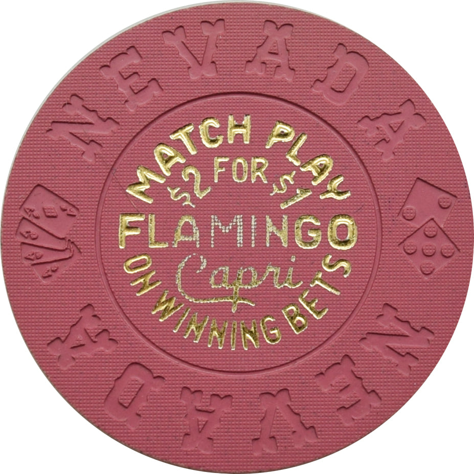 Flamingo Capri Casino Las Vegas Match Play Fuchsia Chip 1980s