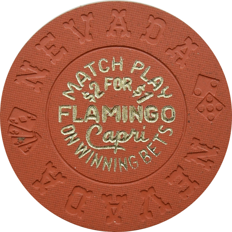 Flamingo Capri Casino Las Vegas Match Play Orange Chip 1970s