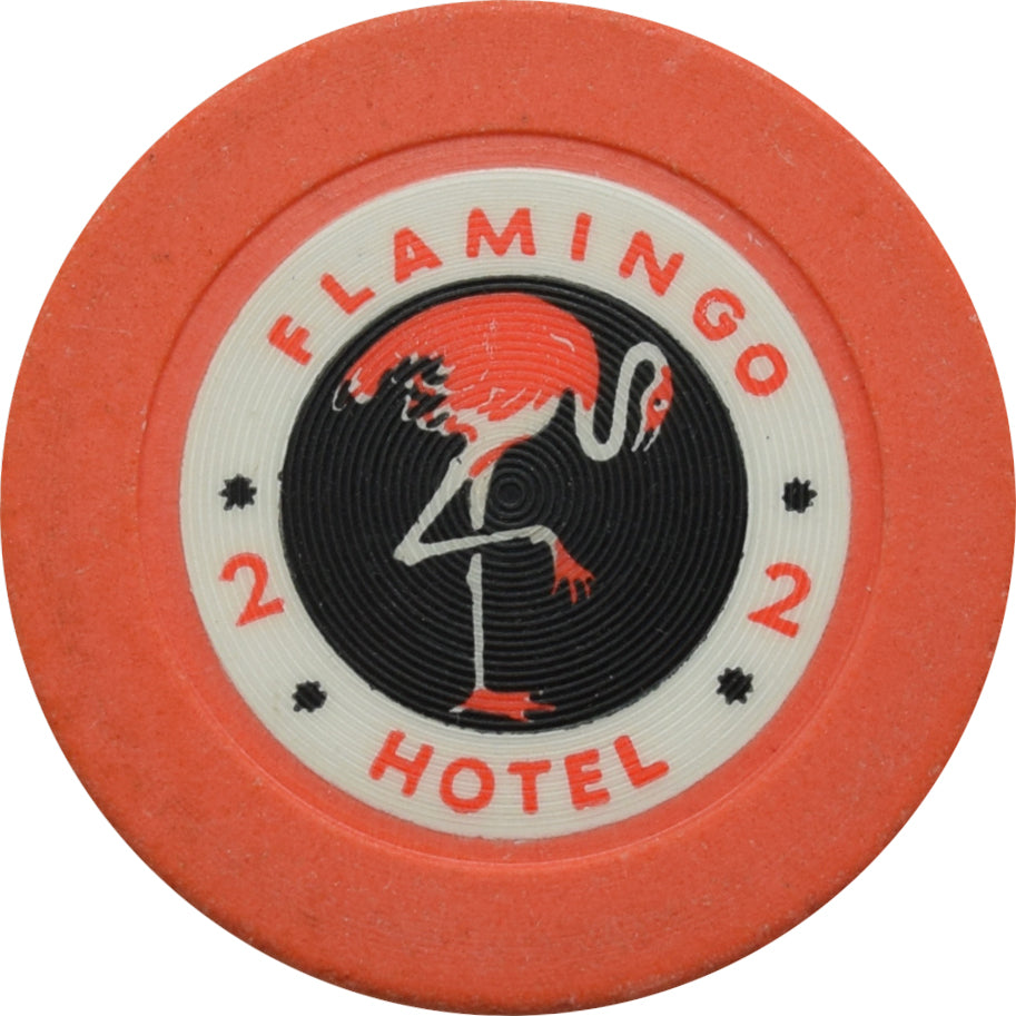 Flamingo Casino Las Vegas Roulette 2 Orange Chip 1950
