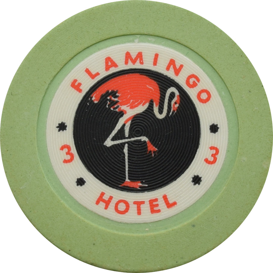 Flamingo Casino Las Vegas Roulette 3 Green Chip 1950