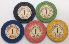 Nevada Club Casino Reno Roulette 500 Chip Set in 5 Colors