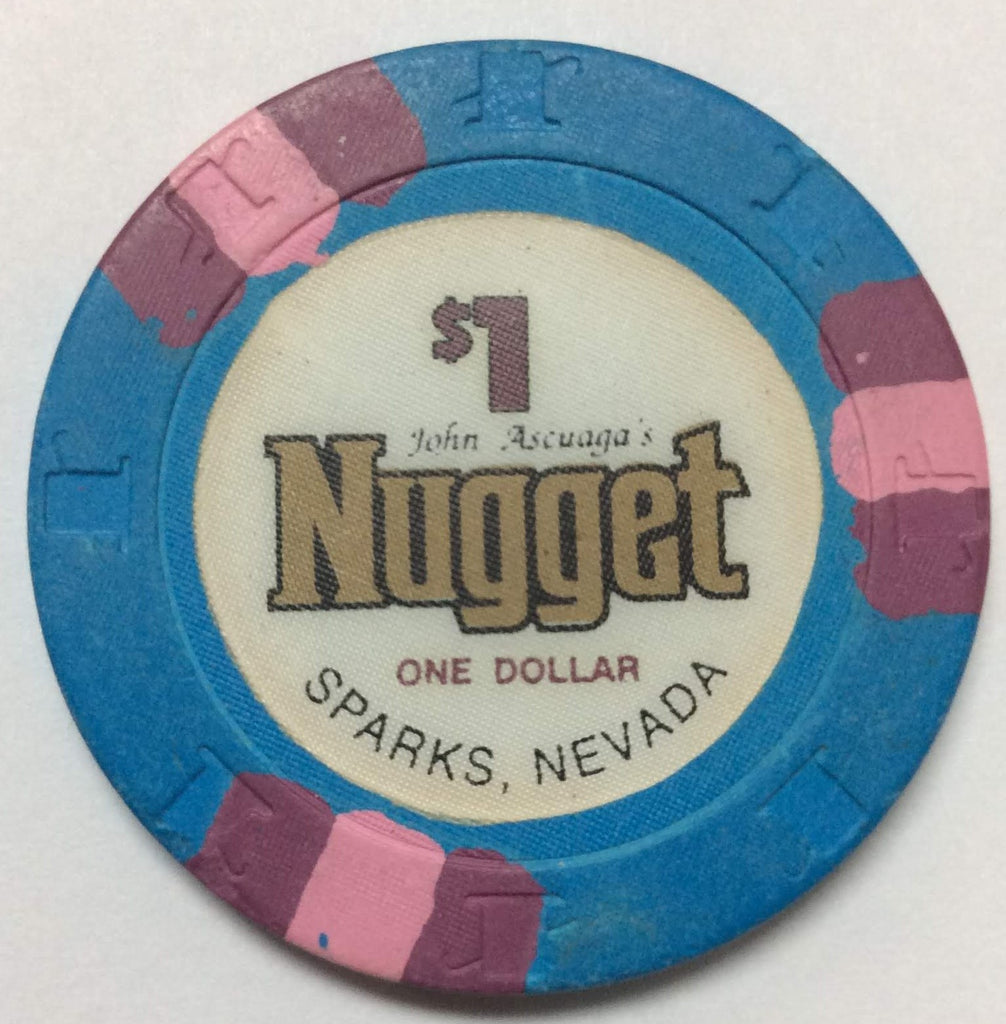 John Ascuaga's Nugget Sparks $1 Casino Chip 1980s