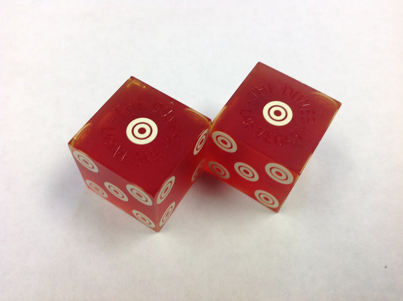 Dunes Hotel and Casino From Las Vegas Nevada Used Red Dice From 1970's, Pair - Spinettis Gaming - 1