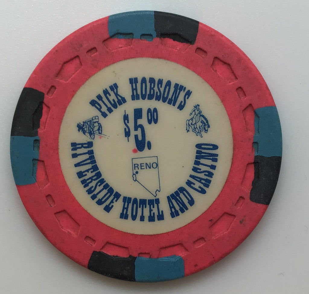 Riverside Pick Hobson's Casino Reno NV $5 Chip 1978