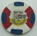 Harvey's Casino Lake Tahoe Nevada $2 Chip With Panes 1970's