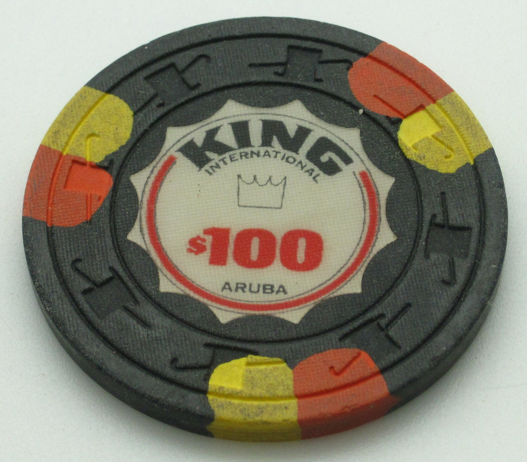 King International Casino Aruba $100 Chip Orange/Yellow Edge Spots
