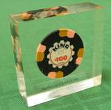 King International Casino Aruba $100 Chip in Lucite Paperweight