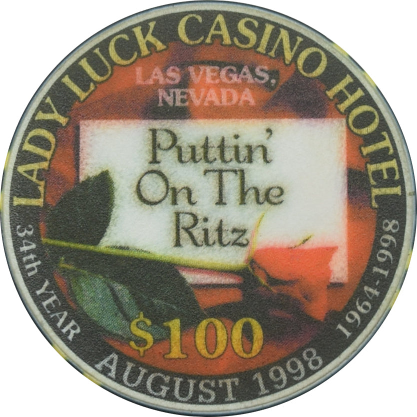 Lady Luck Casino Las Vegas NV $100 Puttin On The Ritz Chip 1998