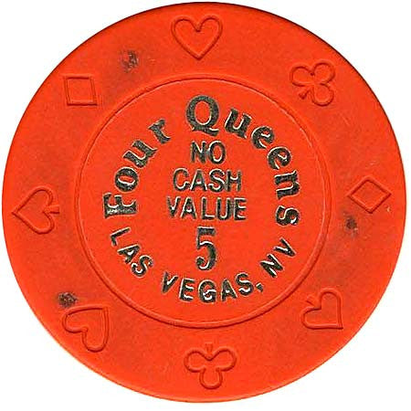 Four Queens 5 (orange) (no cash) chip - Spinettis Gaming - 1