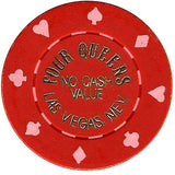 Four Queens (red) (no cash) chip - Spinettis Gaming - 1