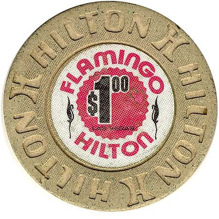 Flamingo Hilton $1 (Beige) chip - Spinettis Gaming - 2