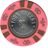 Four Queens $1 chip Light Pink with Spunned coin - Spinettis Gaming