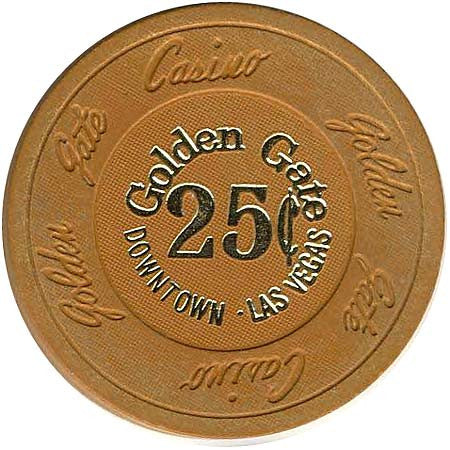 Golden Gate 25cent (Ochre) chip 1980s - Spinettis Gaming