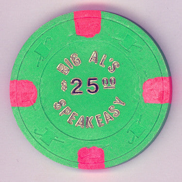 Big Al's Speakeasy Casino $25 (green 1980) Chip - Spinettis Gaming - 1