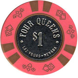Four Queens $1 chip dark pink with smooth coin - Spinettis Gaming
