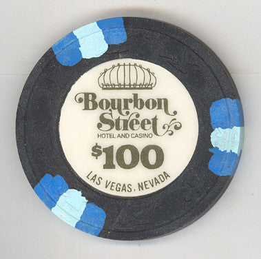 Bourbon Street Casino $100 (black 1988) Chip - Spinettis Gaming - 1