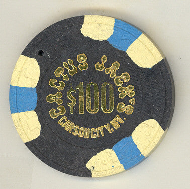 Cactus Jacks Casino  $100 (black 1980s) Chip