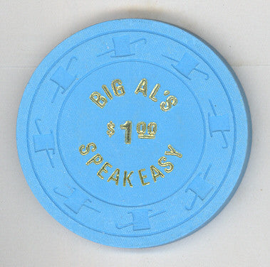 Big Al's Speakeasy Casino $1 (blue 1980) Chip - Spinettis Gaming - 1