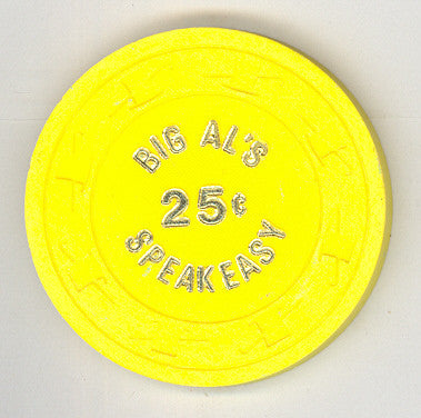 Big Al's Speakeasy Casino 25cent (yellow 1980) Chip - Spinettis Gaming