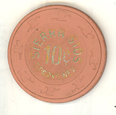 Sierra Sid's Casino Sparks NV 10 Cent Chip 1978