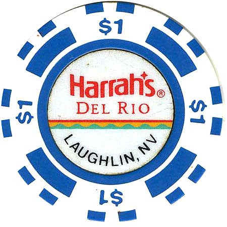 Harrah's Laughlin $1 white (blue inserts) chip - Spinettis Gaming