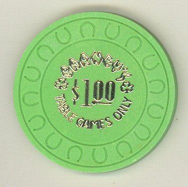 Barney's Casino $1 (green non-negotiable 1985) Chip - Spinettis Gaming - 1