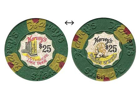 Harvey's Casino Lake Tahoe NV $25 Chip 1973