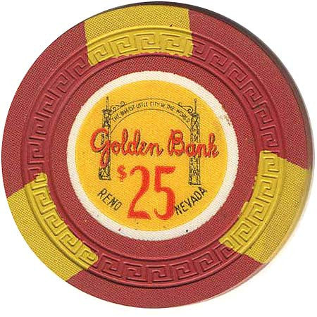 Golden Bank $25 (red) chip