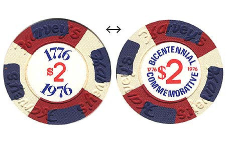 Harvey's Casino Lake Tahoe NV $2 (Bicentennial) Chip 1976