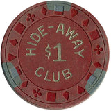 Hide-Away Club $1 (red) chip - Spinettis Gaming - 1