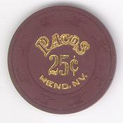 Pacos Reno 25 Cents Chip 1989