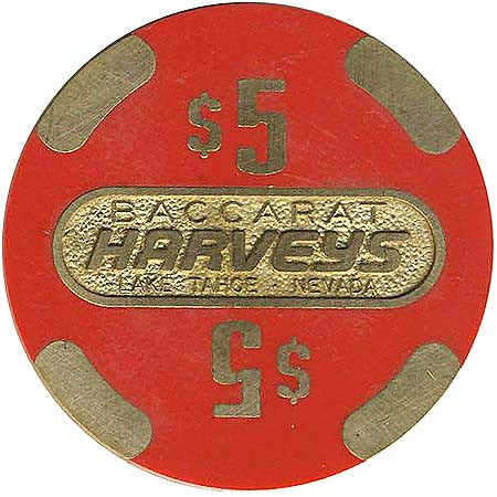 Harvey's Casino Lake Tahoe NV $5 Baccarat Chip 1986 43mm