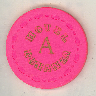 Bonanza Hotel roulette (pink  A 1967) Chip - Spinettis Gaming - 1
