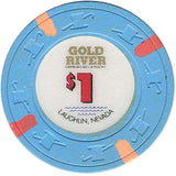 Golden River $1 (Lt. Blue) chip - Spinettis Gaming - 1