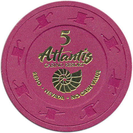 Atlantis Casino Reno NV $5 NCV Chip 1997
