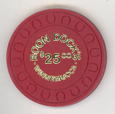 Boon Dock's Casino $25 (maroon 1981) Chip - Spinettis Gaming - 1