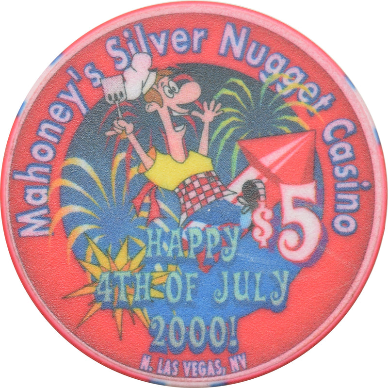Mahoney's Silver Nugget Casino N. Las Vegas Nevada $5 Happy 4th Of July Chip 2000
