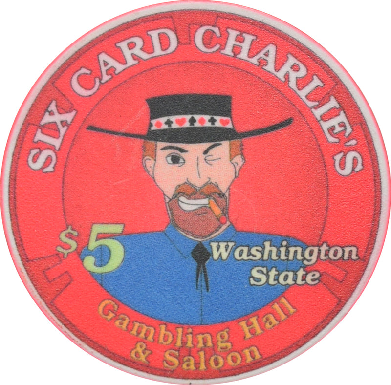 Six Card Charlies Casino Washington $5 Chip