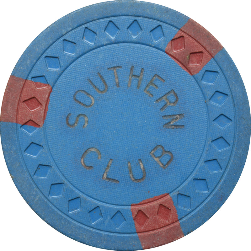 Southern Club Illegal Casino Hot Springs Arkansas $5 Chip Blue with Red Edgespots