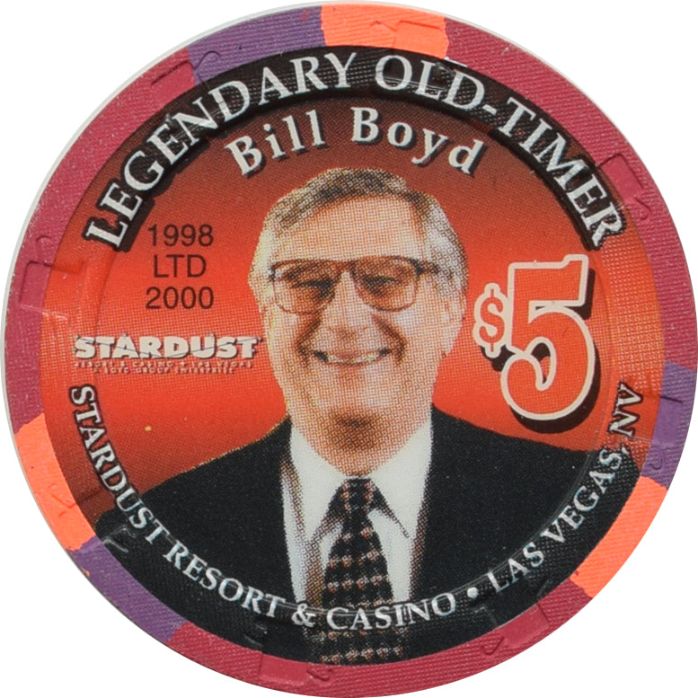 Stardust Casino Las Vegas NV $5 Chip Legendary Old-Timer Bill Boyd 1998