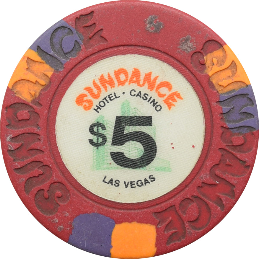 Sundance Casino Las Vegas $5 Chip 1980s Circulated