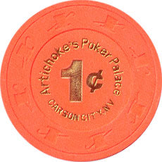 Artichoke's Poker Palace Carson City NV 1 Cent Chip 1997